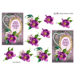 3D Pushout -  Jeanines Art  - With Sympathy - violet flowers - SB10178