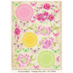 Jeanines Art - Vintage Flowers - Flowers and Circles - JAD10034