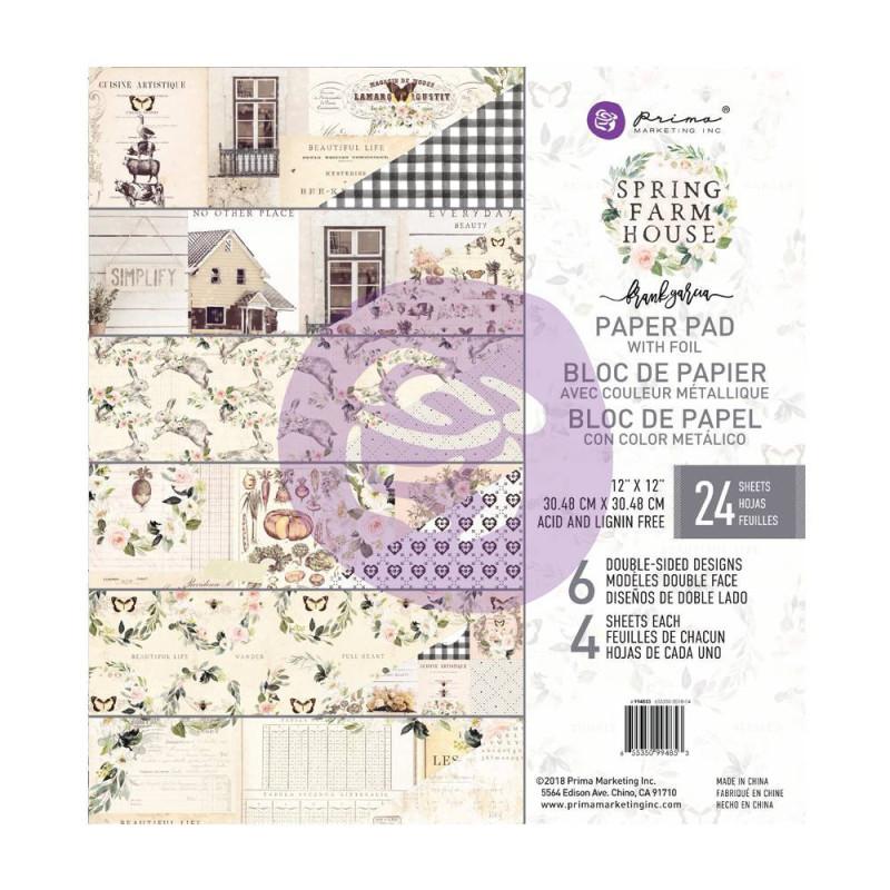 Prima Marketing 15 Designs//3 Each Spring Farmhouse Journaling Cards Pad 4X6 45//Pkg