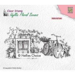 Nellie Snellen - Clear Stamps - Idyllic Floral Scenes - Old Door With Bike - IFS033