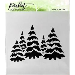Picket Fence Studios - Stencil 6x6 - Field Of Snowy Trees